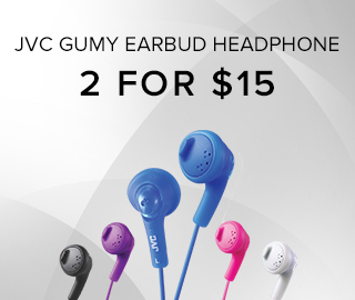 Picture of earbuds. JVC GUMY Earbud headphone. 2 for $15. Click to shop now.